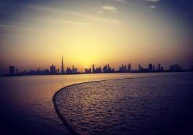 Skyline Dubai at Sunseet seen from Dubai Creek Harbour